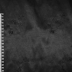 Котон атлас черный с черными вышитыми цветами ш.145 оптом