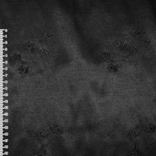 Коттон атлас черный с черными вышитыми цветами ш.145 оптом