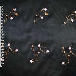 Котон атлас черный с разноцветным вышитыми цветами ш.145 оптом