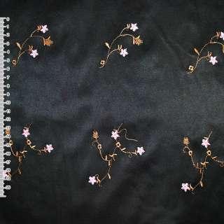 Коттон атлас черный с разноцветным вышитыми цветами ш.145 оптом