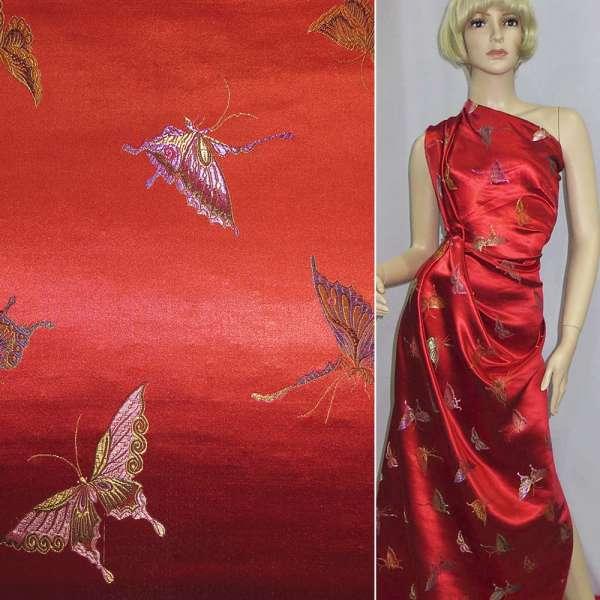 Шелк восточный красный, бабочки оптом