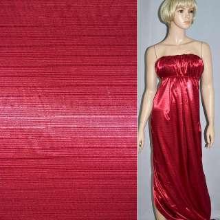 Атлас стрейч шамус жаккардовый вишневый ш.150 оптом