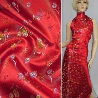 Шелк восточный красный с тюльпанами ш.90 оптом