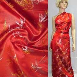 Шелк восточный красный в серебристо-желтые листья ш.90 оптом