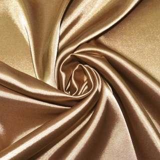 Атлас стрейч золотисто-коричневый ш.150 оптом