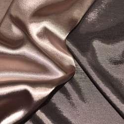 Атлас стрейч хамелеон персиково-коричневый ш.150 оптом