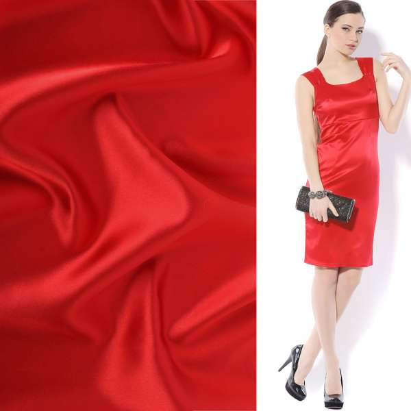 Атлас стрейч шамус ярко-красный ш.150 оптом