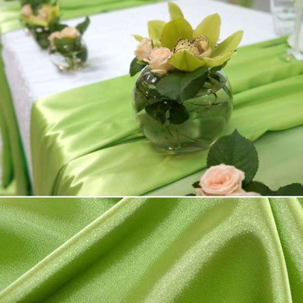 Атлас стрейч шамус ярко-зеленый пл.130 г/м ш.150 оптом