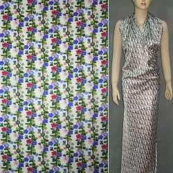 Атлас стрейч шамус белый с мелкими сине-розовыми цветами ш.120 оптом
