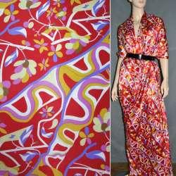 Атлас стрейч шамус красный с желто-фиолетовыми цветами, абстракцией ш.120 оптом