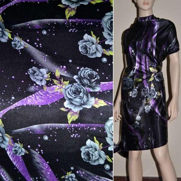 Атлас стрейч шамус черный в серые розы, фиолетовые капли ш.120 оптом