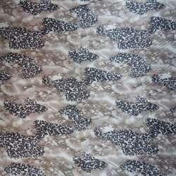 Атлас стрейч темно-бежевый с коричневым принт леопард ш.120