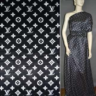Атлас стрейч черный с крупным логотипом LV ш.120 оптом