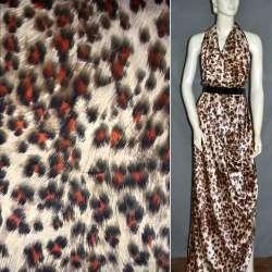 Атлас стрейч песочный+коричнево-терракотовый принт леопард ш.124