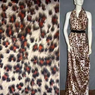 Атлас стрейч песочный+коричнево-терракотовый принт леопард ш.124 оптом