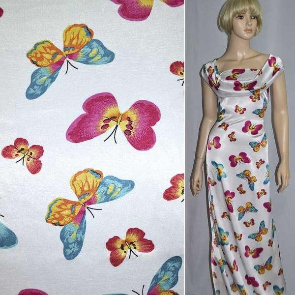 Атлас стрейч белый с разноцветными бабочками ш.120 оптом