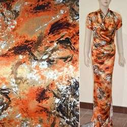 Атлас стрейч бежево-оранжевый в коричневый абстрактный рисунок ш.120 оптом