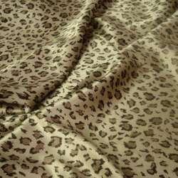 Атлас стрейч светло-бежевый коричневый принт леопард ш.120 оптом