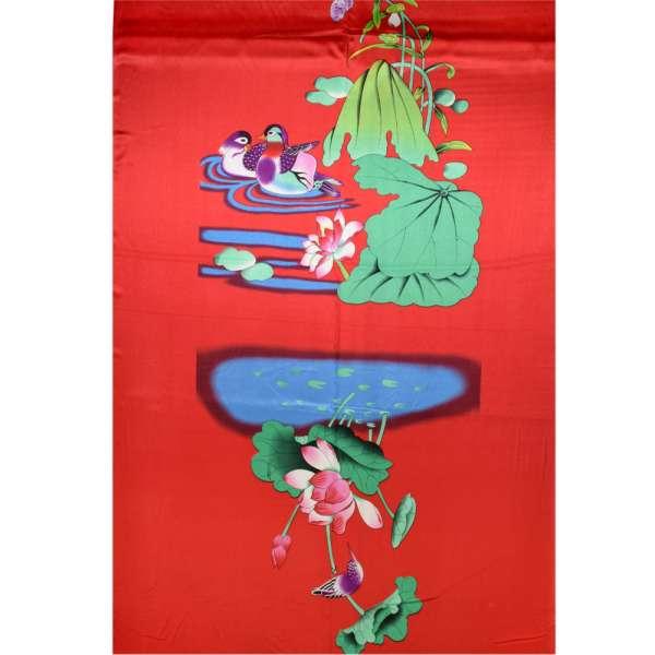 Атлас стрейч красный с зеленым рисунком птицы раппорт ш.120 оптом