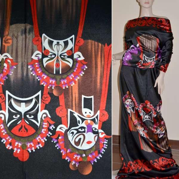 Атлас стрейч черный с красным раппорт маски ш.120 оптом