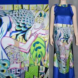 Атлас стрейч синий с салатовым раппорт девушка ш.120 оптом