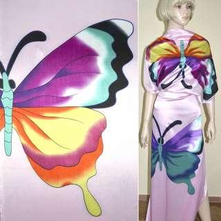 Атлас стрейч розовый с бирюзово-сиреневыми бабочками ш.120 оптом