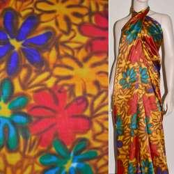 Атлас стрейч желтый фиолетово-красно-бирюзовые цветы ш.120 оптом