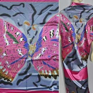Атлас стрейч розово-серый с бабочками раппорт ш.120 оптом