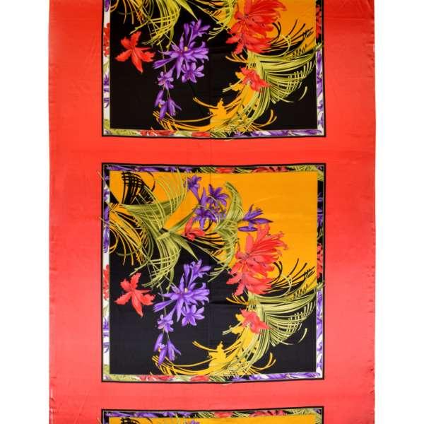 Атлас стрейч красно-черный раппорт цветы ш.120 оптом