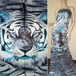 Атлас стрейч серо-голубой раппорт тигры ш.120