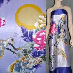 Атлас стрейч светло-фиолетовый с синим раппорт попугай ш.120 оптом