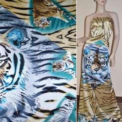 Атлас стрейч бежево-серый раппорт тигры ш.120 оптом