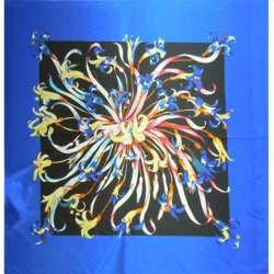 Атлас стрейч сине-черный раппорт в цветы ш.120 оптом