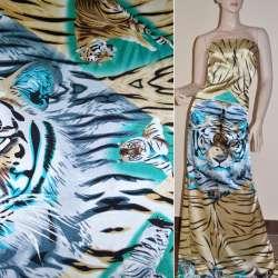 Атлас стрейч коричневый раппорт тигры ш.120 оптом