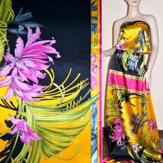 Атлас стрейч малиново-желтый раппорт в цветы ш.120 оптом