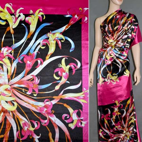 Атлас стрейч малиново-черный раппорт в цветы ш.120 оптом