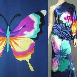Атлас стрейч синий раппорт бабочки ш.120 оптом