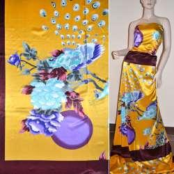 Атлас стрейч коричнево-желтый раппорт, цветы и павлин ш.120 оптом