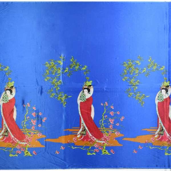 Атлас стрейч светло-синий купон с восточными девушками ш.150 оптом