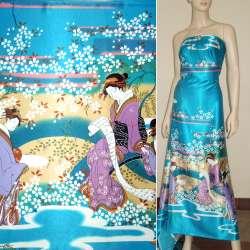 Атлас стрейч бирюзовый купон с восточными девушками ш.150 оптом