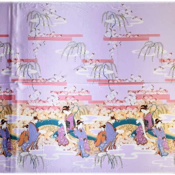 Атлас стрейч светло-фиолетов купон с восточными девушками ш.150 оптом