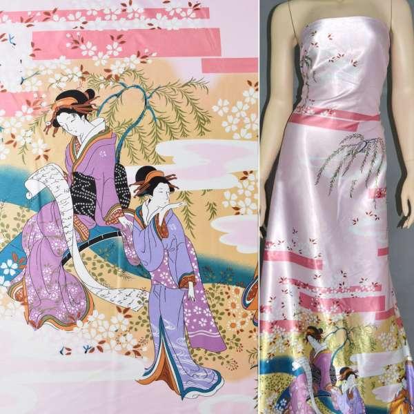 Атлас стрейч бледно-розов купон с восточными девушками ш.150 оптом