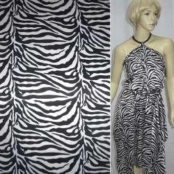 Атлас стрейч черно-белый зебра