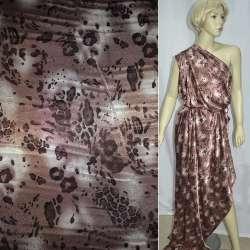 Атлас стрейч серо-розовый коричнево-черный принт леопард ш.120
