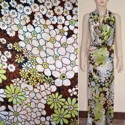Атлас стрейч черный с бело-салатовыми цветами ш.120