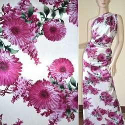 Атлас стрейч белый с темно-вишневыми цветами ш.120