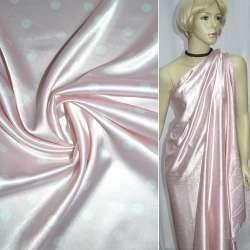 Атлас стрейч розовый в белый горох ш.120