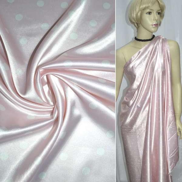 Атлас стрейч розовый в белый горох ш.120 оптом