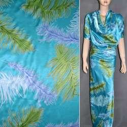 Атлас стрейч шамус ярко-голубой с салатными голубыми перьями ш.150
