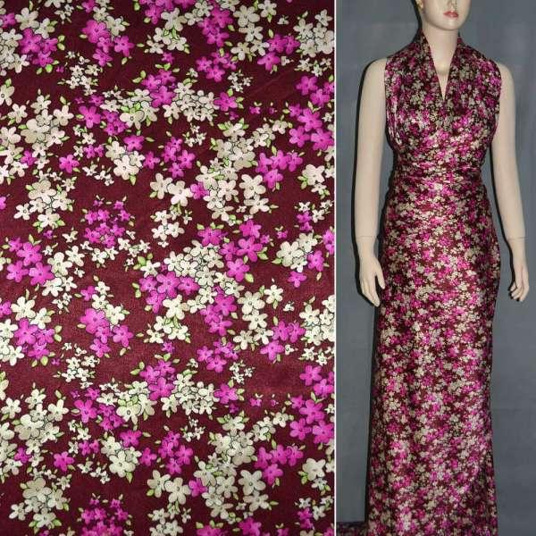 Атлас стрейч шамус бордовый с малиново-кремовыми цветами ш.150 оптом